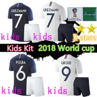 Wholesale kids world soccer jerseys resale online - 2 Star world cup Jersey MBAPPE kids kit GRIEZMANN POGBA Home away Blue and white mbappe soccer jersey DEMBELE MARTIAL football shirt