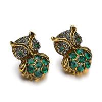 accesorios del buho de las muchachas al por mayor-2019 Nueva moda Rhinestone lindo Vintage Owl Stud pendientes para mujeres mujeres hermosos accesorios E2698