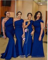 vestidos de dama de honor reales nigerianos al por mayor-2019 Un Hombro Sirena Azul Real Vestidos de Dama de Honor Largos Africanos Nigerianos Fruncidos Más Tamaño Invitado de Boda Vestidos de Damas