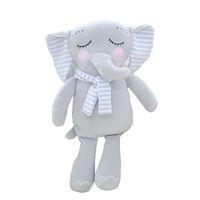 juguetes grises al por mayor-30 CM de dibujos animados gris gran oreja bufanda elefante felpa juguetes blandos lindo divertido Appease muñeca rellena para niñas bebé dormir almohada