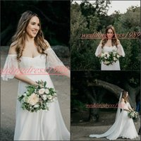 Wholesale red beach wedding dresses for sale - Beautiful Off Shoulder Beach Garden Chiffon Wedding Dresses Bohemian Boho Lace Bride Ball Vestido de novia Formal Plus Size Bridal Gown