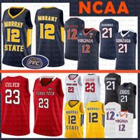 basquete indiana venda por atacado-12 Ja Morant camisa NCAA Murray State Racers Universidade de Maryland 34 Len Viés Estado de Indiana Larry 33 Pássaro 35 Texas Tech Durant Anthony