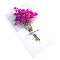 Wholesale dried flower cards resale online - Creative Gypsophila Dried Flowers Folding Type Greeting Cards Christmas Birthday Party Wedding Invitations Dried Flowers Invitat