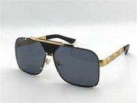 yeni stil lensler toptan satış-Lüks-yeni erkekler vintage tasarımcı güneş gözlüğü retro tasarım büyük yüz logo kare çerçeve çerçevesiz UV400 lens kutusu ile en kaliteli steampunk tarzı