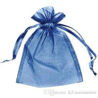 bolso de la boda del azul de marina de guerra al por mayor-Ventas calientes ! 100 unids Azul Marino Organza Wedding Party Favor Regalo Caramelo Escarpado Bolsas Joyería Bolsa