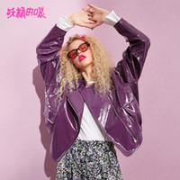 jaqueta de couro feminina roxa venda por atacado-ELF SACK 2019 Nova Moda Roxo Jaqueta de Couro Pu Mulher Outerwear Casacos Casuais Mulheres Turn-down Collar Femme Casacos