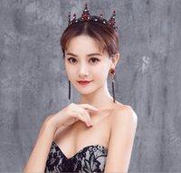ingrosso corone rotonde per spose-Vintage Stye Full Round Sposa Tiara Crown Barocco Rosso Crystal Wedding Accessori per capelli per le donne re copricapo