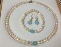 белые серьги из жемчуга оптовых-Новый 7-8мм белый жемчуг аквамарин ожерелье браслет серьги набор