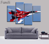 ingrosso pittura aerei-4Picture Modern Printed Fighter Aircraft Canvas Painting Combat Aircraft Wall Picture Art Per Soggiorno Senza Cornice