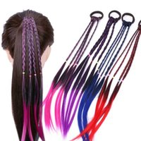 bükülmüş saç örgü bant toptan satış-Renkli Peruk at kuyruğu Saç Süs Kızlar Peruk Kafa Lastik Bantlar Çocuk Twist Braid Saç Bantları Saç Aksesuarları Yeni TTA2038-5