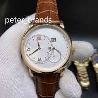 Wholesale rose big size for sale - Group buy High quality Luxury Automatic Watch rose gold case white Dial stainless steel brown Leather band fashion big size MM men Watches