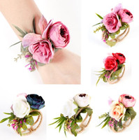 ingrosso bracelet-Garland Bracelet 5 Colors Party Wedding Bridesmaid Bride Wrist Band Corsage Woven Straw Cuff Bracelet Hand Flowers OOA6611