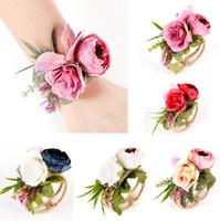 corpete da flor do bracelete venda por atacado-Garland Pulseira 5 Cores Do Partido Do Casamento Da Dama de Honra Noiva Bandagem De Pulso Corsage Woven Straw Cuff Bracelet Mão Flores OOA6611
