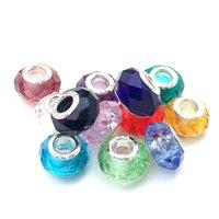 bolas de diamantes de imitación de 12 mm al por mayor-Granos de cristal de cristal mezclado al azar 100 unids estampado 925 de plata Fit Pandora Europea encantos pulsera 13x10 mm
