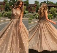 Wholesale white formal gowns for sale - Shiny Gold Sequins Prom Dresses A Line Evening Gowns Formal Floor Length Pageant Red Carpet Dress BC0632