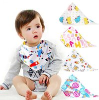 Wholesale cartoons buttons resale online - INS Baby Bibs Cartoon Printed Triangle Burp Saliva Cloth Infant Toddler Bandana Scarf Kids Button Nursing Bibs OOA6835