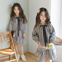 niñas niños algodón vestido al por mayor-Bow Girls Dress 2019 Spring Teens Kids Ruffle Dresses Stripe Princess Party Frocks Moda Niños Ropa Algodón Costumbres