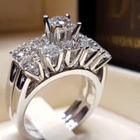 anillos de zafiro natural plata de ley al por mayor-Espumoso plata esterlina 925 piedras preciosas naturales zafiro blanco diamante princesa anillo novia boda anillos de compromiso joyería fina tamaño 5-12