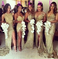 Wholesale maid honor sweetheart neckline resale online - 2018 Sexy African Sequins Bridesmaid Dresses Gold Different Neckline Illusion Back High Split Evening Dress Mermaid Long Maid of Honor Gowns