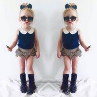 baby-blütenanzüge großhandel-Ins navy baby anzug mädchen kleidung spitze hals weste tops + streifen shorts pumphose 2 stücke sets kinder outfit kleinkind kleidung säuglingsabnutzung a619