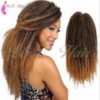 siyah saç uzatmalar 18 inç toptan satış-18 '' Tığ Marly siyah Yumuşak Afro büküm sentetik Örgü Saç Uzantıları Örgü 18 inç Ombre Marley Afro Kinky Kanekalon Sentetik