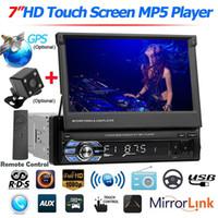 """navegación del coche dvd mazda al por mayor-Receptor Bluetooth 7"""" Car Stereo MP5 RDS AM FM Radio GPS 1 DIN retráctil pantalla táctil USB 9601 actualizado 9602 de DVD del coche"""