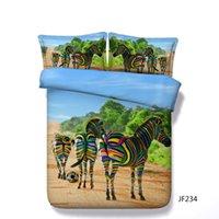 zebra kissenbezüge großhandel-Zebra Bettwäsche voller Rosa 3pcs Bettbezug und Kissen Shams Set für Kinder Mädchen Jungen Cartoon Zebra Schmetterling Aquarell Muster Tröster