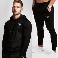 костюм для фитнеса оптовых-Mens Hoodies And Pants Suits Casual Fashion Sportswear Sets Sweatshirt Sweatpants Male Fitness Joggers Tracksuit  Clothing