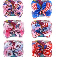 Wholesale christmas hair bows for babies for sale - Group buy 8 inch Hair Bows Barrettes European American Flags Hairpins Kids Boutique Hairclip Baby Hair Accessories For Independence Day KKA7817