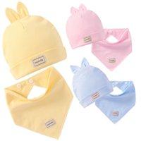 baberos pañuelo blanco al por mayor-Baberos de bebé Baberos elásticos de bebé Capas dobles Gorras de bebé de algodón puro con juego de toallas de saliva Paños para bebés eructos