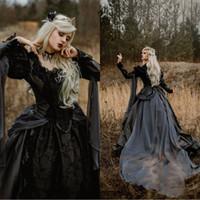 vestidos de casamento medievais pretos venda por atacado-2020 Medieval Vintage vestidos de casamento gótico de prata e preto Renaissance Fantasia vitoriana Vampires manga comprida vestido nupcial