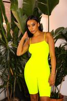 ingrosso jumpsuits solido-Tuta da donna di colore Sweet Ladies New Designer Spaghetti Strap Solid casual Pagliaccetti Short da spiaggia da donna