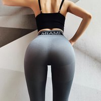 Wholesale thin yoga pants resale online - Stretchy Seamless Leggings Women Tummy Control Gym Letters Fitness Sport Pants High Waisted Breathable thin section Yoga Pants