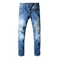 Wholesale cool fashion style men online - 2019 Balmain Men Distressed Ripped Jeans Fashion Designer Straight Jeans Causal Denim Pants Streetwear Style mens Jeans Cool