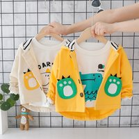 Wholesale woolen clothes for girls resale online - 1PC Dinosaur Jacket for Kid s Windbreaker Trenceh Coat Baby Jacket Girls Cute Dinosaur Footprint Pattern Clothes Years Old