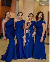 vestidos de dama de honor reales nigerianos al por mayor-Sirena sexy de un hombro, azul real, vestidos de dama de honor, vestidos africanos, vestido de novia nigeriano, más el tamaño, vestidos formales