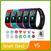 e5 telefones venda por atacado-Monitor de Freqüência Cardíaca Inteligente Bluetooth Tela Pulseira Colorida Y5 Y5 Rastreador de Fitness Medição de Pressão Arterial Homens Relógio Inteligente