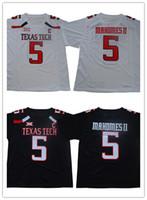 черные белые рубашки оптовых-Мужская Texas Tech 5 Mahomes II колледж Джерси сшитые Белый Черный 15 Mahomes рубашки размер S-XXXL, заказ смешивания