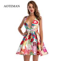 Aoteman Vestido De Verano Mujer 2018 Estilo Maduro Atractivo A Line Profundo V Mini Chaleco Vestido Vintage Femenino Elegante Corto Vestidos De Fiesta