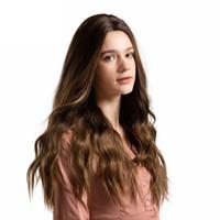 inç insan danteli peruk toptan satış-Kadınlar Için vücut Dalga Dantel Ön İnsan Saç Peruk Kahverengi Uzun Peruk Uzun Sentetik Kadınlar Için Sentetik 26 Inç 2018