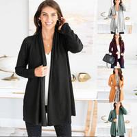 kadın uzun örme hırka toptan satış-Günlük Triko Kadınlar Saf Uzun Kollu Hırka Coat 2019 Sonbahar Moda Örme Jumper Hırka Artı boyutu Kabanlar Kadın Tops