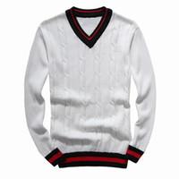 suéter de punto de manga de bordado al por mayor-2019 hombres suéteres de ocio lujoso bordado suéter suéteres de alta calidad de manga larga jersey de punto de color sólido