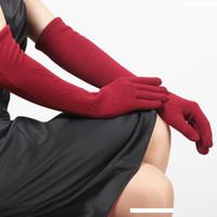 ingrosso guanti da riscalzare le dita-Spun Velvet donna Guanti Cuff Donna Autunno Inverno Cinque i guanti lavorati a maglia ispessimento caldo manica del braccio Warmers BL023N1