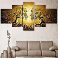 ingrosso pannelli d'arte astratta-5 Panels Modern Decor Immagini Abstract Love Kiss Lady Tree Pittura Stampe Home Office Wall Art Decor Camera da letto Soggiorno Decor No Frame