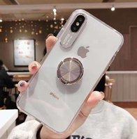 cas de téléphone de doigt achat en gros de-Transparent Acrylique + tpu 2in1 Cas de téléphone avec bague Béquille pour iPhone 11 xs max xr pour iphone 6plus