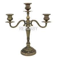 ingrosso candele di bronzo-Portacandele 3 bracci / 5 bracci Bronzo Metallo Candelabro in metallo Decorazione Portacandele Portalampada per decorazioni per la casa