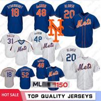 morangos de jersey venda por atacado-20 Pete Alonso 48 Jacob deGrom # 18 Darryl Strawberry New Jersey Iorque 150º jérseis de basebol Mets 16 Gooden 34 Noah 17 Hernandez 52 Cespedes