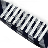 Wholesale necktie tie bar for sale - Group buy New Straps Groove Diamond Short Tie Clips Business Suits Shirt Necktie Tie Bars Fashion Jewelry Men Christmas Gift Will and sandy