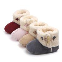 meninos sapatos quentes venda por atacado-Novo Inverno quente com fivela sapatos bebê da criança do bebê Meninos Meninas sapatos Manter quente e não-deslizamento 4 Cor 0 a 15 meses