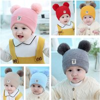 Wholesale boys baby christmas crochet hats for sale - Group buy Infant Baby Knitted Hats Cartoon Pom Poms Beanie Spring Autumn Skull Cap Boys Girls Crochet Hat Fashion Ear Muff Kids Knit Beanies Colors